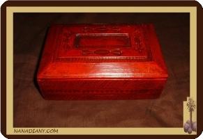 boite en cuir touareg rouge ref 176MR
