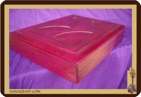 Coffre de rangement touareg en cuir rose ref 323