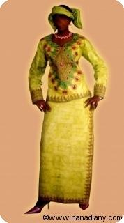 Robe/boubou africaine bazin riche  avec perlage Ref 5320