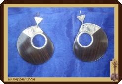 Boucles d'oreilles touareg ébène argent massif 925 ref 4509