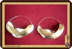 Boucles d'oreilles africaine en laiton  peuhles Fori en bronze diamètre 9 cm Ref 4306