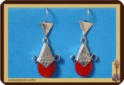 Boucles d'oreilles touareg (argent/perle de verre) Ref: 4601