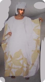 Boubou robe bazin art et artisanat africain du Mali ref : 5610