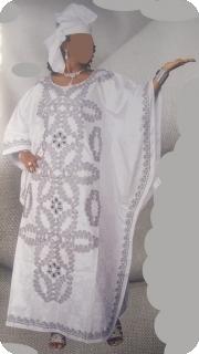 Boubou robe bazin art et artisanat africain du Mali Ref : 5611