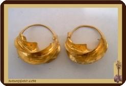Boucles d'oreilles africaine en laiton peuhl/peul. Mali 2cm Ref 4300