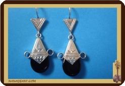 Boucles d'oreilles touareg (argent/perle de verre) Ref: 4603