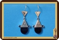 Boucles d'oreilles touareg (argent/perle de verre) Ref: 4602